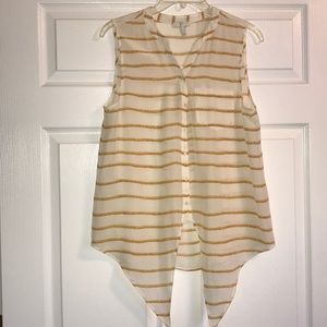 Joie Sleeveless Button Down Rope Design Stripe